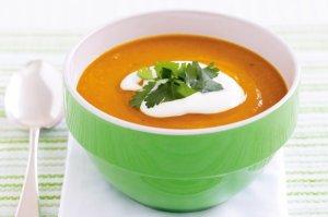 Суп-пюре тыквенный с чечевицей и авокадо
