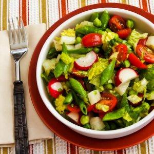 Салат с копченой курицей, фасолью и горохом