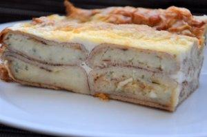 Пирог из блинчиков с картошкой