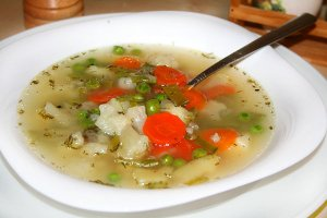 Овощной суп с морским языком