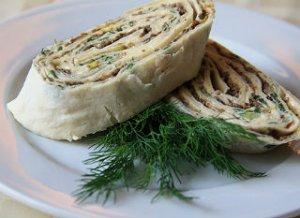 Лаваш с грибами и сыром